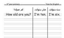 مذكره لغه انجليزية للصف الثالث الابتدائي ترم اول homework