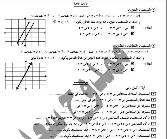 مذكرة لجبر للصف الثالث الاعدادى الترم الثانى