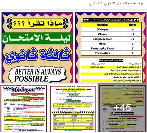 مراجعة ليلة الإمتحان في اللغة الإنجليزية الصف الثالث الثانوي 2021